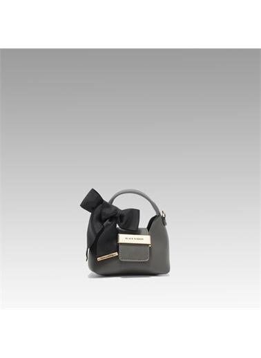 Black Ribbon Aksesuar Detaylı Askılı Micro Çanta Gri